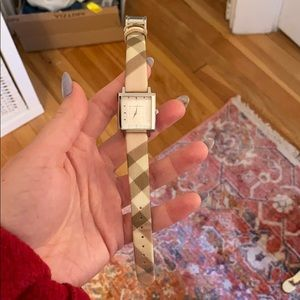 Square light pink Burberry watch
